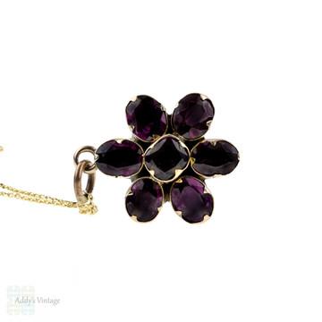 Victorian Garnet Flower Pendant, Gilt Metal Antique Pendant on 9k Yellow Gold Chain.