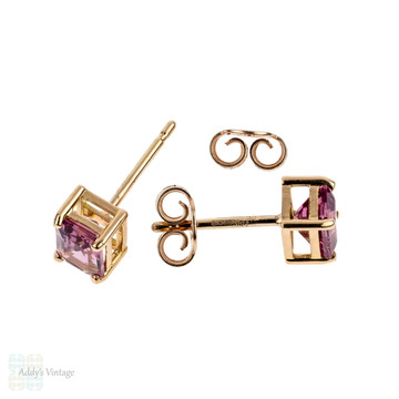 Pink Spinel 18ct Rose Gold Earrings, Emerald Cut 1.78 ctw Bubblegum Pink Spinel Stud Earrings.
