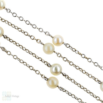 Cultured Pearl Necklace, Vintage Art Deco 9ct White Gold Delicate Pearl Station Chain.
