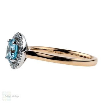 Blue Zircon & Diamond Engagement Ring. Modern Diamond Halo in 18ct Rose Gold & Platinum.