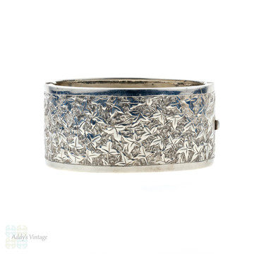 Antique Engraved Ivy Leaf Engraved Bangle, Wide Victorian 1890s Sterling Silver Bracelet.