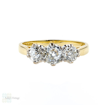 Old Mine Cut Engagement Ring, 1.16 ctw Graduated Three Stone Ring. 18ct Yellow Gold.