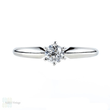 Antique Diamond Single Stone Engagement Ring, 0.40 ct Old European Cut Diamond Solitaire in Platinum.