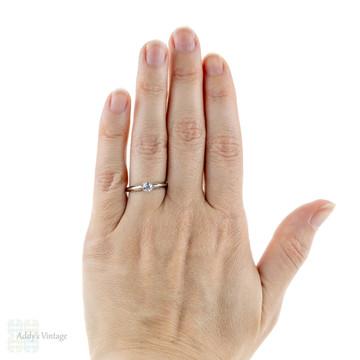 RESERVED. Antique Diamond Single Stone Engagement Ring, 0.40 ct Old European Cut Diamond Solitaire in Platinum.