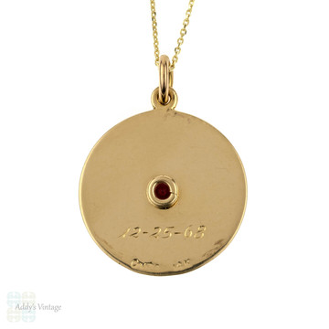 "Mid Century 14k Garnet Pendant ""Rose"". 1960s Cartier Large Circular Charm on 9ct Gold Chain."