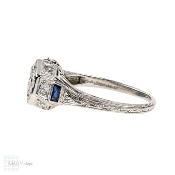 Art Deco Platinum Engagement Ring, Filigree Diamond Cluster Ring with French Cut Blue Sapphires.