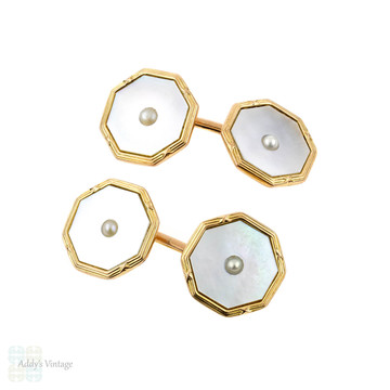 1930s Men's 9ct Cuff Links, Octagonal 9k Yellow Gold Reeded Design with Mother of Pearl.