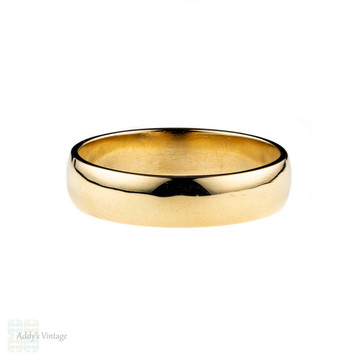 Handmade 9ct Mens Wedding Ring, 5mm Recycled 9k Yellow Gold Band Sizes K to Z.