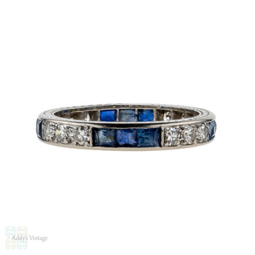 Sapphire & Diamond Eternity Ring, Vintage Wedding Band. 18ct 18k White Gold, Size O / 7.25.
