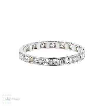 RESERVED. Art Deco Diamond Eternity Ring, Platinum Square Set Full Hoop Wedding Band. Size M / 6.25.