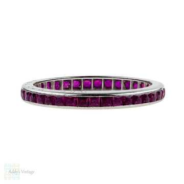 1940s French Cut Synthetic Ruby Eternity Ring. Platinum Channel Set Full Hoop Band. Size L / 6.