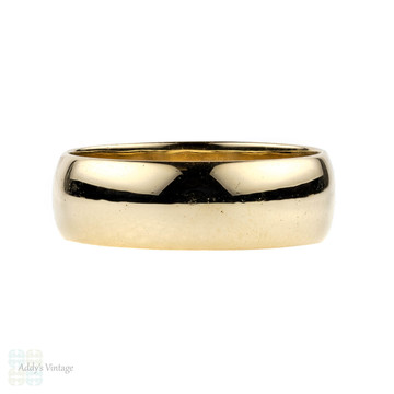 Vintage 9ct Yellow Gold Wedding Ring, Men's Wide Band. 1980s, Size U / 10.