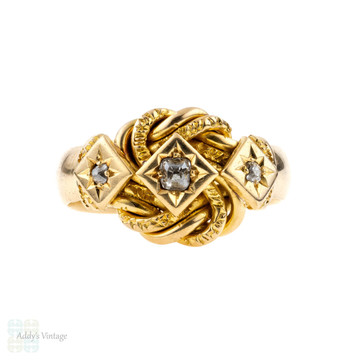 Antique Diamond Knot Ring, Engraved 1910s Knot Ring. Full English Hallmarks, 18 ct Yellow Gold.