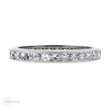 Art Deco Diamond Eternity Ring, 1.16 ctw Channel Set Platinum Wedding Band. Size N.5 / 7.