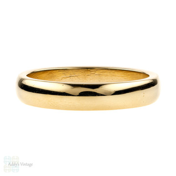 Vintage Men's 9ct Yellow Gold Wedding Band, 1960s D Profile 9k Ring. Size S / 9.25.