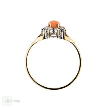 Vintage Coral & Diamond Cluster Ring, 9k Yellow Gold Dress Ring. Circa 1980s.