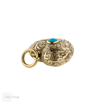 Victorian 9ct Turquoise Heart Locket. Hand Engraved Flower Puffed Heart Pendant. Circa 1800s.