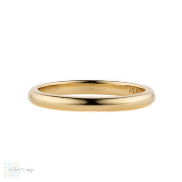 14k Yellow Gold Slender Wedding Ring. Timeless Classic Wedding Band, Size K / 5.5.