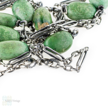 Art Deco Sterling Long Guard Chain, Green Chrysoprase Fancy Link Necklace, Circa 1920s.