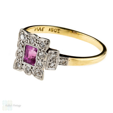 Ruby & Diamond Engagement Ring, Art Deco Diamond Halo Stepped Mount. 18ct & Platinum.