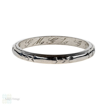 1940s Engraved Platinum Wedding Ring, Flower Engraved Band. Size J.5 / 5.25.