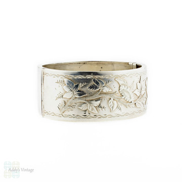 Victorian Sterling Silver Bracelet, Engraved Ivy Leaf Antique Bangle. Circa 1880s.