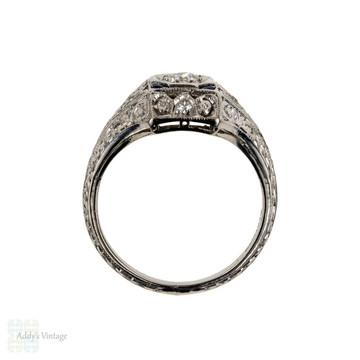 RESERVED 1920s Diamond & Sapphire Engagement Ring, Engraved Platinum Art Deco Ring.