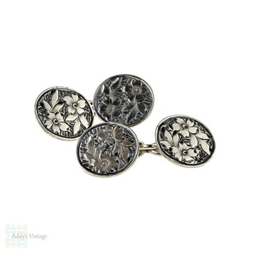 Antique Sterling Silver Cuff Links, Men's Floral Engraved Double Face Cufflinks, 1910s.
