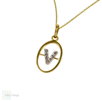 Vintage 18k Gold V Charm, Diamond Initial Pendant, Circa 1970s on 9ct Yellow Gold Chain.