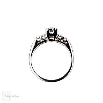 Mid Century Diamond Engagement Ring, Square Set 14k White Gold Ring, Circa 1940s.