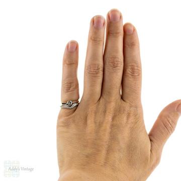 Diamond 18ct Wishbone Wedding Ring, Estate Shaped Pave Set 18k Diamond Band. Size J.5 / 5.25.