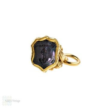"Victorian 15ct Gold Anchor & Bird Watch Fob, ""Esperanza"" Hope Amethyst Seal."
