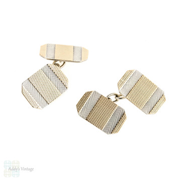 Art Deco Two Tone Cuff Links, Double Faced Silver & 9ct Cufflinks. Circa 1940s.