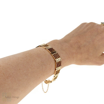 Victorian 15ct Gate Link Bracelet, Antique 15k Rose Gold Flexible Bracelet, Circa 1890s.