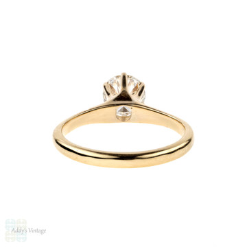 Vintage Diamond Solitaire Engagement Ring, 0.91 ct 14k Yellow Gold 1930s Ring.