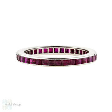 Synthetic Ruby Eternity Ring, Channel Set Full Hoop Wedding Band. 14k White Gold, Size H / 4.