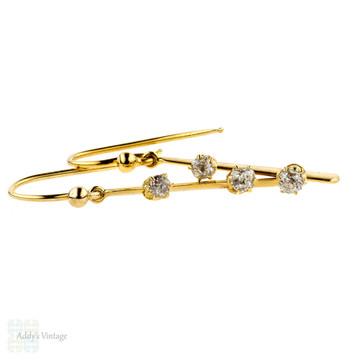 Antique Diamond Earrings, Old Mine Cut Diamond Conversion Drop Earrings.