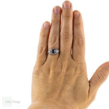 Sapphire & Old Cut Diamond Filigree Engagement Ring. Vintage 1930s, 18k White Gold.