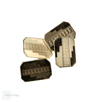Art Deco Two Tone Cuff Links, 9ct 9k Yellow Gold on Silver Engine Turned Design.