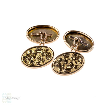 Antique 9ct Cuff Links, Engraved Leaf Foliate Design 1900s 9k Gold Cufflinks.