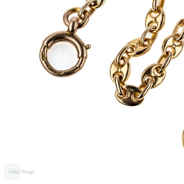 RESERVED Antique 9k Anchor Link Chain Necklace, 9ct Rose Gold Sailor Link. 46 cm / 18 inches.