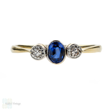 Art Deco Sapphire & Diamond Engagement Ring, Three Stone Ring. 18ct Gold & Platinum.