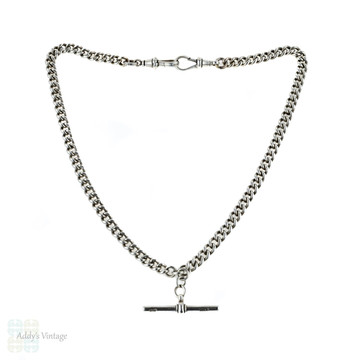 Edwardian Antique Sterling Silver Albert Chain with Dog Clips & T-Bar. Circa 1900.