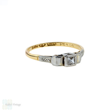 French Cut Diamond Engagement Ring, Art Deco Engraved Ring. 18ct Gold & Platinum.