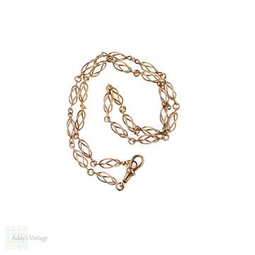 Art Nouveau 9ct Rose Gold Chain, Antique 9k Open Cage Link Necklace. 49 cm / 19.25 inches.