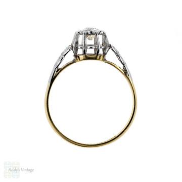 Old European Cut Diamond Engagement Ring, Leaf Design with 0.34 Carat. 18ct Gold & Palladium.