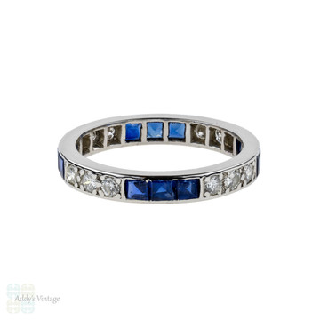 Sapphire & Diamond Eternity Ring, Art Deco Full Hoop Platinum Wedding Band. Size K / 5.25.