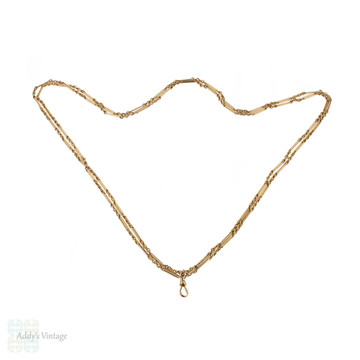 Antique 9ct Long Guard Chain, Victorian Trombone & Lover's Knot Links 9k Necklace. 56 inches.
