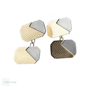 1940s Two Tone Cuff Links, Double Faced Engine Turned Silver & 9ct Cufflinks.