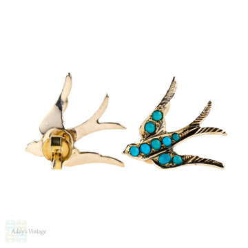 Antique 9ct Turquoise Swallow Earrings, Victorian Bird Stud Earrings.